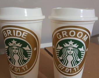 Bride and Groom Personalized Starbucks plastic reusable coffee cup