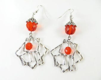 Orange square earrings