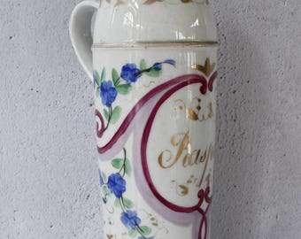 """Antique French Apothecary Bottle for Raspail...Hand Painted Paris Porcelain Bottle...Height 9""""...RARE"""