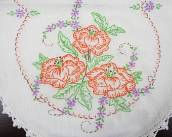 Vintage Orange Poppies Embroidered on White Linen Runner