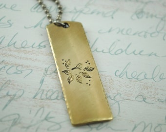 I am No Bird Inspiration Bar Necklace Keepsake Copper or Brass