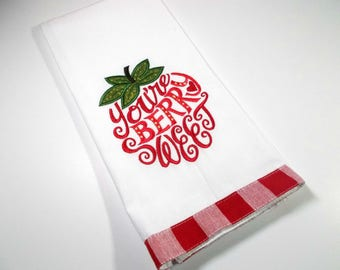 Embroidered Towel - Kitchen Towel - Strawberry Kitchen Towel- Hand Towel - 10 dollar gift– Kitchen Décor – Berry Sweet - Fruit - Funny gift