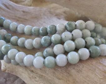 "Round 8 mm big hole bead Burma Jade 2.5mm Hole Soft Pale-Med Green 7.5""-8"""