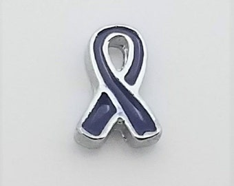 1 PC - Awareness Ribbon Blue Enamel Silver Charm for Floating Locket F0441