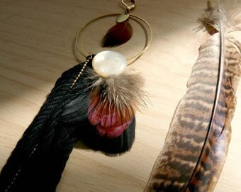 Bohemian tribal feathers & tassel single earring - Kin II
