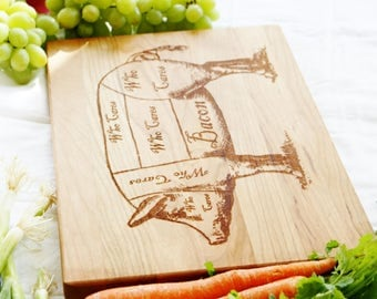 Bacon Pig diagram handmade wooden cutting board. Engraved Cherry butchers block for bacon lovers.