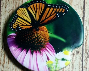Butterfly Car Coasters/ Butterfly Collection Coasters/ Cup Holder Coasters /Pink Flower /Monarch Butterfly Car Coaster