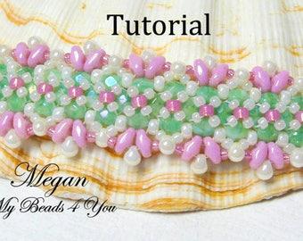 Bracelet Beading Tutorial Pattern,Beadwork Pattern,Beadweaving Tutorial, Pattern, Seed Bead Tutorial, Superduo Beading Pattern, MyBeads4You