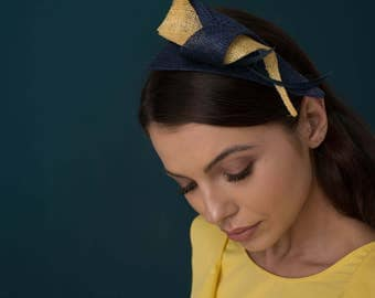 Fascinator Sinamay Headband Navy and Yellow