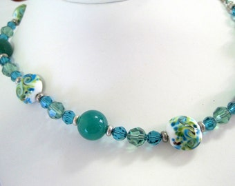 Green Glass Necklace - 925 Clasp-  Painted Beads - Faceted Aqua Crystal Spacers