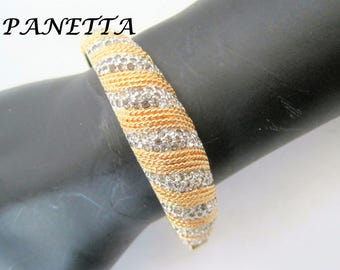 Panetta Rhinestone Bracelet -  Hinged Clamper Bangle - Collectible Vintage Bracelet