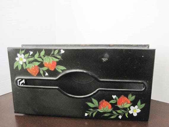 Strawberry Tissue Holder - Toleware Painted -  Plymouth Signed - Black Enamel - Home Decor