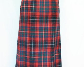 20% OFF SALE 70's Vintage Pendleton Plaid Skirt, Red Plaid Wool Skirt, Fall Skirt, Back to School