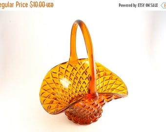 20% OFF SALE 50's Vintage Glass Basket, Amber Glass, Gold Glass Vase, Collectable Glass