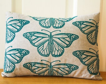Hand Printed Pillow Cover with Insert, Monarch Butterflies, 12x16, Home Decor, Teal, Made to Order