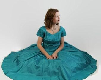 On Sale 50s 60s Dress Aquamarine Vintage Wedding Prom Circle Skirt Blue