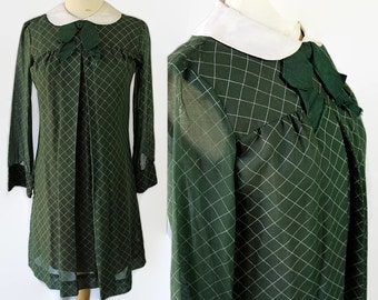 60s Twiggy Dress, Peter Pan Collar, Tie, Green White Check, Cotton Voile, School Girl