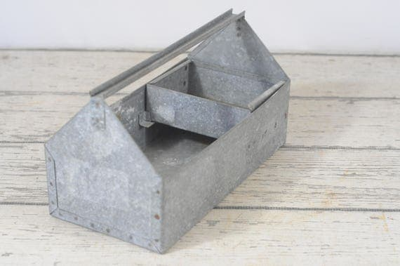 Galvanized tool tote with small removable box galvanized for Small garden tool carrier