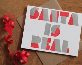 Santa is real, letterpress holiday card, set of 6