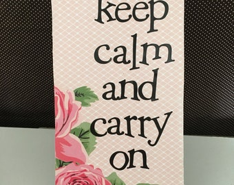 Keep Calm and Carry On Floral Ceramic Wall Hanging