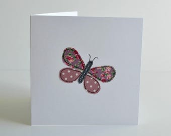 Butterfly greetings card, butterfly card, embroidered card, sewn card, birthday card, blank greetings card, stitched buttterfly, applique