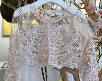 Beaded Long Sleeve Bolero Lace Details
