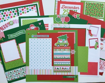 Christmas Scrapbook Page Kit 12x12 or Premade Pre-Cut with Instructions 8 pages