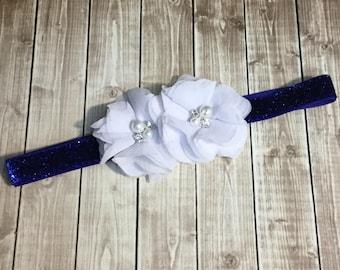 White Royal Blue Glitter Headband - Pearl Rhinestone Headband - Newborn Infant Baby Toddler Girls - Royal Blue - Glitter - Baby Headband