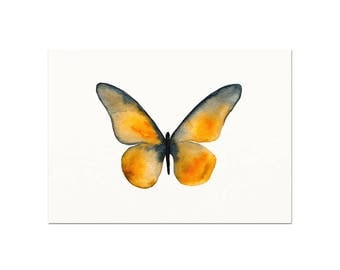 Orange Butterfly Watercolor Art Print. Unique Nature Wall Art. Modern Butterfly Artwork. Colorful Butterfly Art Print. Modern Nursery Art.