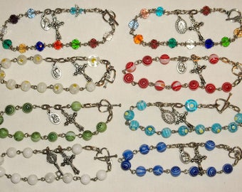 Rosary Bracelet with 8mm beads Handmade, Charm bracelet, Choose of 1, chose your favorite color