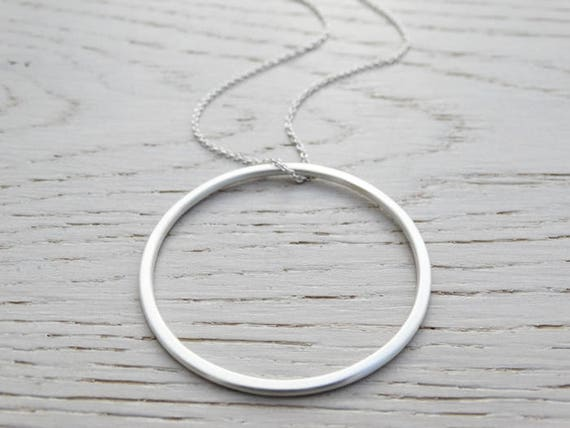 Big Silver Circle Pendant - Long Necklace - Sterling Silver