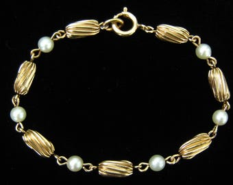 12 K GF VAN DELL Pearl & Ribbed Tube Bead Link Bracelet.  Mid Century well Designed