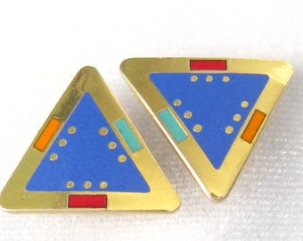 """LAUREL BURCH Earrings """"For Marie"""".  Triangular Studs.  Periwinkle Blue Enameled Centers.  Red/Teal/Orange Accents.  22 k Gold Plated Metal."""