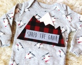 Shred the Gnar Baby Bodysuit, Shred The Gnar, Mountain Bodysuit, Baby Mountain Shirt, Colorado Baby, Skiing Baby, Adventure Baby