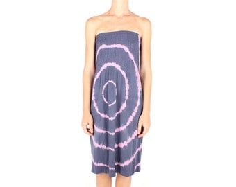 SALE - 90s PSYCHEDELIC Acid Trip Tie Dye / Optical Illusion Stapless Bandeau Mini / Midi Summer Tube Dress