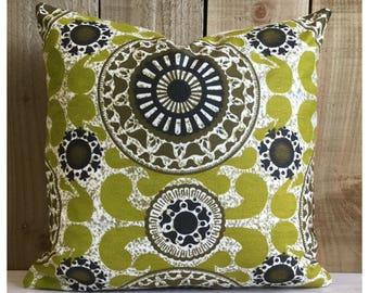 Vintage 70s Green Bohemian  Fabric Cushion Cover  Retro Throw Pillow