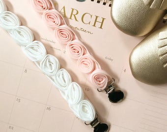 White Rose Pacifier Clip/ Baby Shower Gift/ Newborn Baby Girl/ Sophie the Giraffe/ Paci saver/ Posh Baby/ baby gift/ Baby Easter/ Nuk