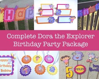 Dora the Explorer Complete Party Package, Dora Party Set, Dora Birthday Decorations, Dora Birthday Set, Dora Party Package, Dora Banner