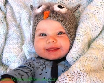 Owl Hat, Baby Owl Hat, baby beanie, knitted baby hat, animal hat, bird hat, size 3-9 months, warm winter hat, photo prop or baby shower gift