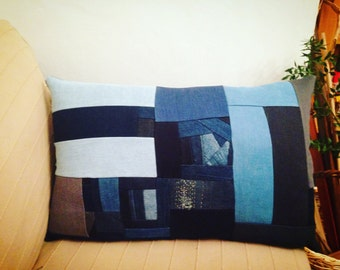 Denim Patchwork Pillow Cushion Cover