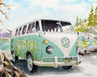 """V.W. Bus 1967 art print 8"""" x 10"""""""