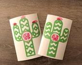 Southwest or Chevron Cactus Monogram Decal Yeti Decal, Monogram, Vinyl Monogram Phone Sticker