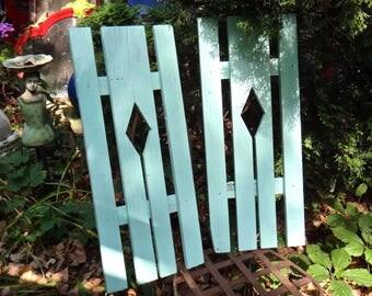 Shutters, Two Shutters, Aqua, Wood Shutters, Yard, Garden, Outdoor, Porch, Window Decor, Slatted Shutters, Beach Coastal, CasaKarmaDecor