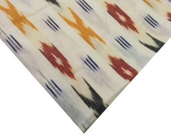 Handloom Ikat Cotton Fabric - Indian Cotton Fabric - Multicolored Cotton Fabric - Woven Cotton Handloom Fabric