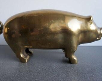 Vintage Brass Pig 1970s Brass Animal Brass Piggy Bank