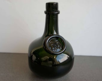 Vintage Handblown Green Glass Bottle Signed 1964 Seal PP 1744 Kapia