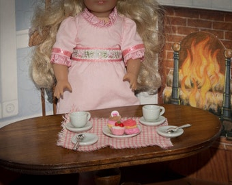 """Tea for Two """"Pretty in Pink"""" for American Girl Doll Mini Samantha, Felicity, Barbie, BJD, Plates, Teacups and Spoons, Food"""