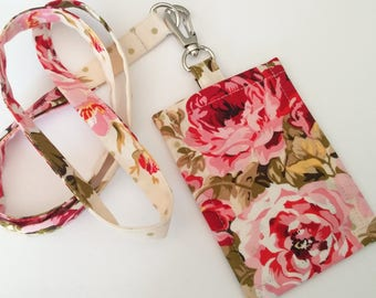 Lanyard ID Holder, Vintage Roses ID Holder ,  Clip On  ID Holder with Hidden Cash Stash and Matching Lanyard