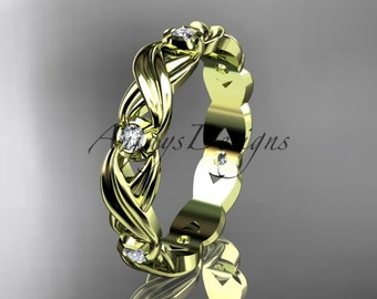 14kt yellow gold diamond leaf and vine wedding ring, engagement ring, wedding band ADLR19