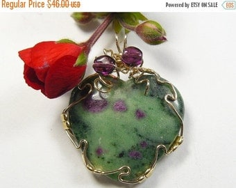 Ruby and Fuchsite Designer Cabochon Wire Wrapped in 14k gold fill wire, heart shaped cabochon pendant (w10762)